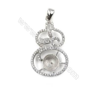 925 sterling silver platinum plated micro pave CZ pendant, 19x33mm, x 5pcs, tray 8mm, needle 0.7mm