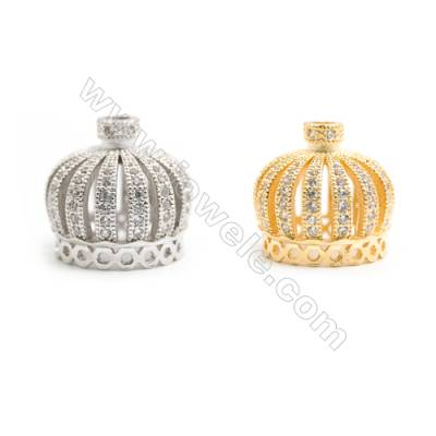 Gold-Plated (Rhodium Plated) Cubic Zirconia Brass Beads Charms, Crown, Size 19x21mm, Hole 1mm, 10pcs/pack