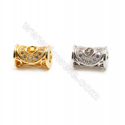 Gold-Plated (Rhodium Plated) Cubic Zirconia Brass Beads Charms, Column, Size 5x9mm, Hole 3mm, 30pcs/pack