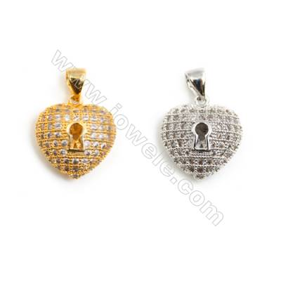 Gold-Plated (Rhodium Plated) Cubic Zirconia Brass Pendant Charms  Heart  Size 14x16mm  30pcs/pack