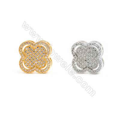 Gold-Plated (Rhodium Plated) Cubic Zirconia Brass Beads Charms, Clover, Size 19x19mm, Hole 1mm, 20pcs/pack