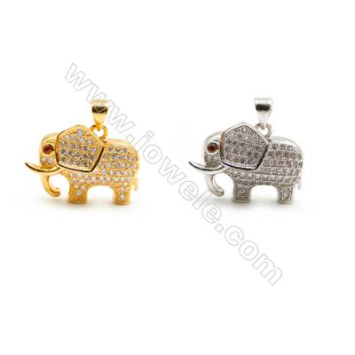 Gold-Plated (Rhodium Plated) Cubic Zirconia Brass Pendant Charms  Elephant  Size 16x22mm  20pcs/pack