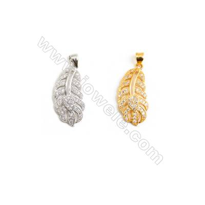 Gold-Plated (Rhodium Plated) Cubic Zirconia Brass Pendant Charms  Leaf  Size 12x26mm  30pcs/pack