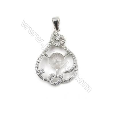 925 Sterling silver platinum plated inlaid CZ pendants, 19x27 mm, x 5pcs, tray 7 mm, needle 0.6 mm