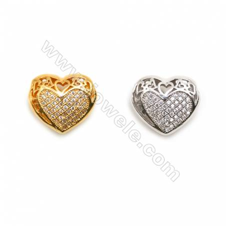 Gold-Plated (Rhodium Plated) Cubic Zirconia Brass Beads Charms  Heart  Size 13x14mm  Hole 1mm  30pcs/pack