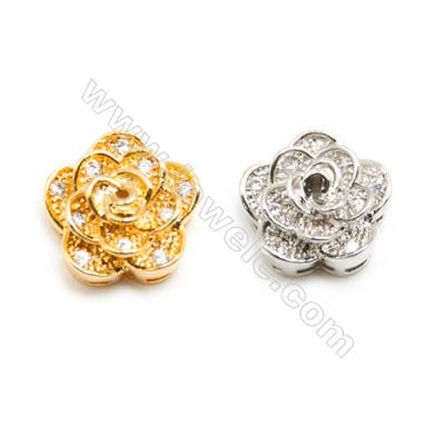 Gold-Plated (White gold Plated) Cubic Zirconia Brass Connector, Rose, Size 10x10mm, 40pcs/pack