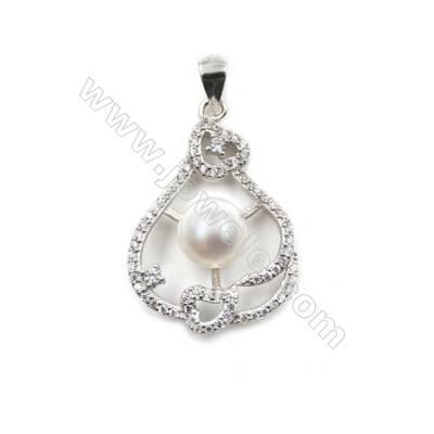 925 Sterling silver platinum  plated inlaid CZ pendants-D5784 19x27 mm x 5pcs disc diameter 7 mm  needle diameter 0.6 mm