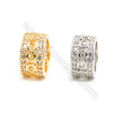 Gold-Plated (Rhodium Plated) Cubic Zirconia Brass Beads Charms, Ring, Size 5x10mm, Hole 7mm, 20pcs/pack
