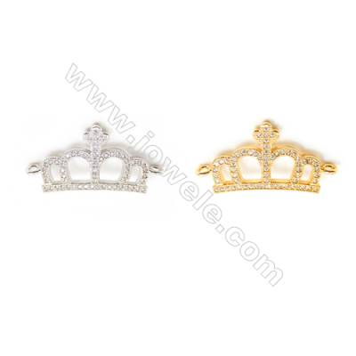 Gold-Plated (White gold Plated) Cubic Zirconia Brass Connector, Crown, Size 17x31mm, 20pcs/pack
