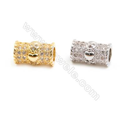 Gold-Plated (Rhodium Plated) Cubic Zirconia Brass Beads Charms, Column, Size 7x11mm, Hole 4mm, 20pcs/pack