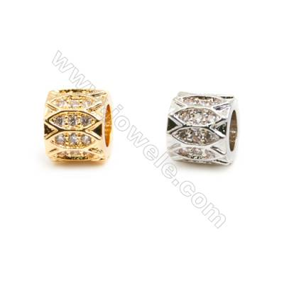 Gold-Plated (Rhodium Plated) Cubic Zirconia Brass Beads Charms, Column, Size 6x7mm, Hole 4mm, 30pcs/pack