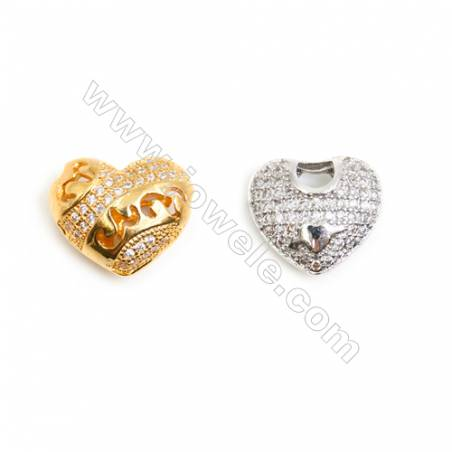 Gold-Plated (Rhodium Plated) Cubic Zirconia Brass Beads Charms  Heart  Size 11x13mm  Hole 2.5mm  30pcs/pack