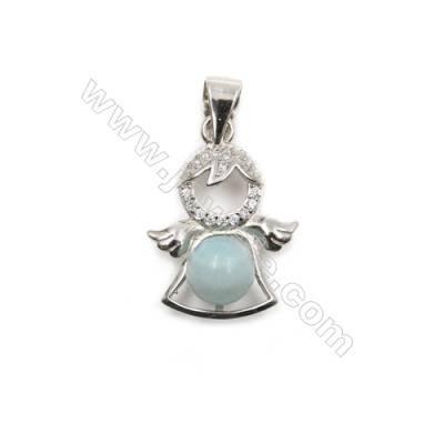 925 Sterling silver platinum  plated inlaid CZ pendants-D5848 14x20 mm x 5pcs  disc diameter 4 mm needle diameter 0.4 mm