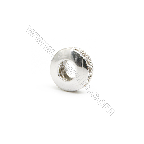Gold-Plated (Rhodium Plated) Cubic Zirconia Brass Beads Charms  Flat Round  Size 4x7mm  Hole 3mm  40pcs/pack