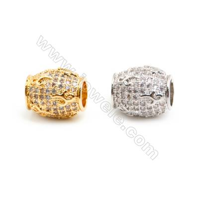 Gold-Plated (Rhodium Plated) Cubic Zirconia Brass Beads Charms, Barrel, Size 10x11mm, Hole 4.5mm, 15pcs/pack