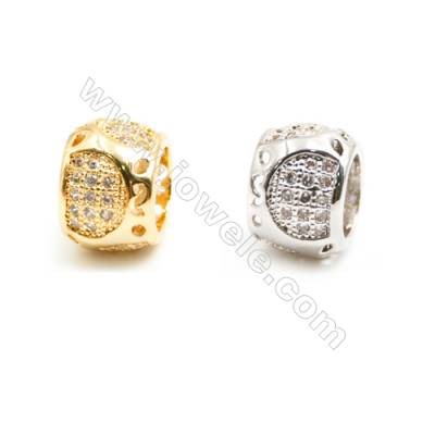 Gold-Plated (Rhodium Plated) Cubic Zirconia Brass Beads Charms, Barrel, Size 6x9mm, Hole 5mm, 20pcs/pack