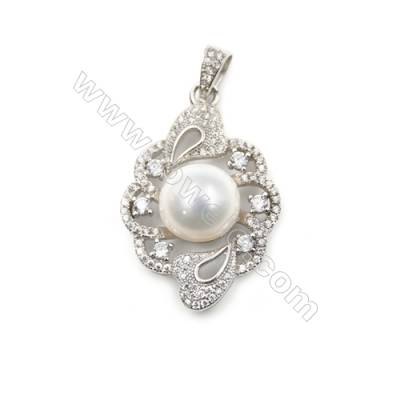 Sterling silver platinum  plated CZ pendants-D5740 20x30mm x 5pcs disc diameter 9mm needle diameter 0.5mm
