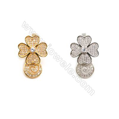Gold-Plated (Rhodium Plated) Cubic Zirconia Brass Pendant Charms  Clover  Size 16x27mm 10pcs/pack