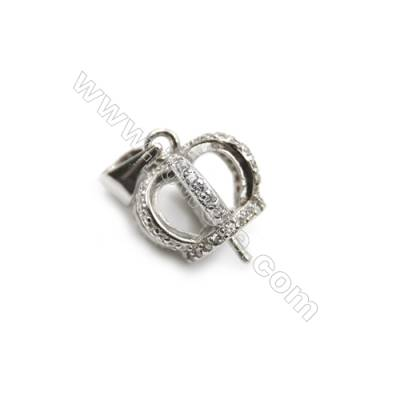 925 sterling silver platinum plated micro pave CZ Pendant, 12x14mm, x 5pcs, tray 8mm, needle 0.5mm