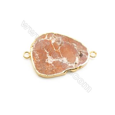 Natural Irregular Laguna lace agate (Mexican Agate) Pendant Connector, Gold Plated Brass, Size 30x38mm, Hole 3.5mm, x 1piece