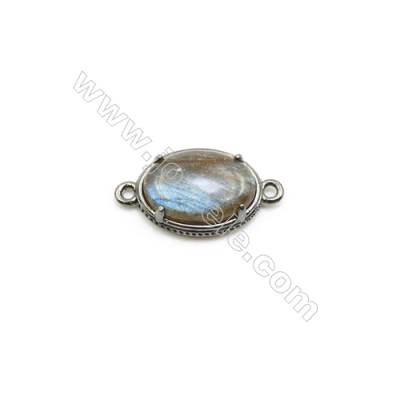 Natural Oval Labradorite Pendant Connector, Black Gun Plated Brass, Size 12x16mm, Hole 1.5mm, x 1piece