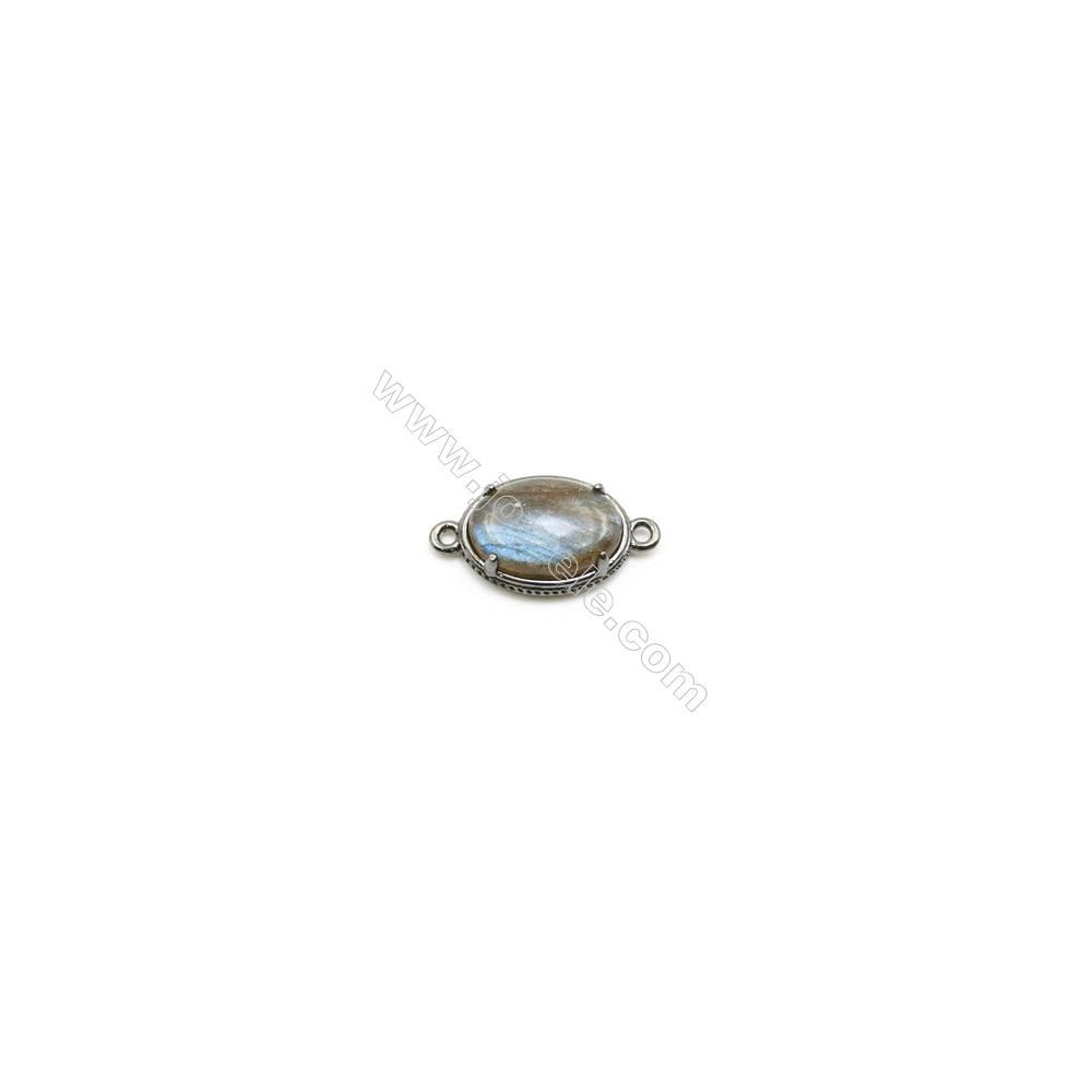 Natural Oval Labradorite Pendant Connector, Black Gun Plated Brass, Size 12x16mm, Hole 1.5mm, x 1piece