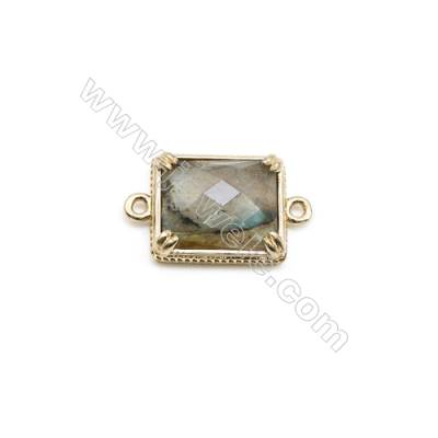 Natural Rectangle Labradorite Pendant Connector, Gold Plated Brass, Size 12x14mm, Hole 1.5mm, x 1piece
