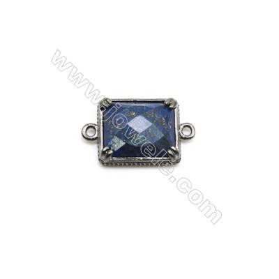 Natural Rectangle Lapis Lazuli Pendant Connector, Black Gun Plated Brass, Size 12x14mm, Hole 1.5mm, x 1piece