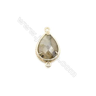 Natural Teardrop Labradorite Pendant Connector, Gold Plated Brass, Size 15x20mm, Hole 1.5mm, x 1piece