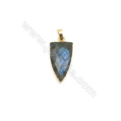 Natural Arrow Labradorite Pendant, Gold Plated Brass, Size 16x28mm, x 1piece