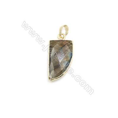 Natural Blade Labradorite Pendant, Gold Plated Brass, Size 15x26mm, x 1piece
