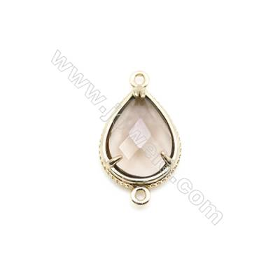 Natural Teardrop Smoky Quartz Pendant Connector, Gold Plated Brass, Size 15x20  Hole 1.5mm, x 1piece