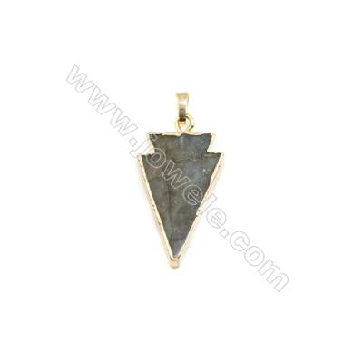 Natural Arrow Labradorite Pendant, Gold Plated Brass, Size 20x31mm, x 1piece