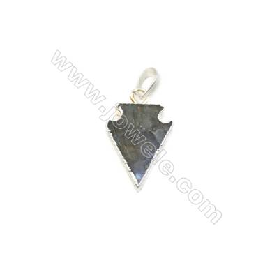 Natural Arrow Labradorite Pendant, Silver Plated Brass, Size 16x22mm, x 1piece