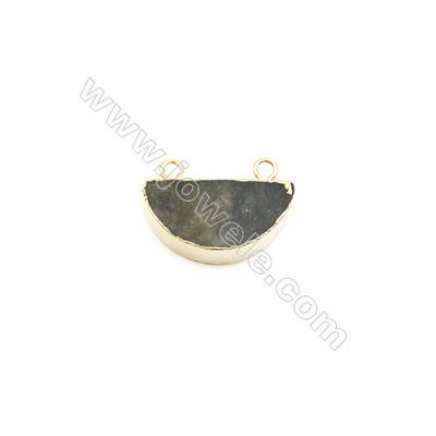 Natural Half-Round Labradorite Pendant Connector, Gold Plated Brass, Size 15x30mm, Hole 3mm, x 1piece