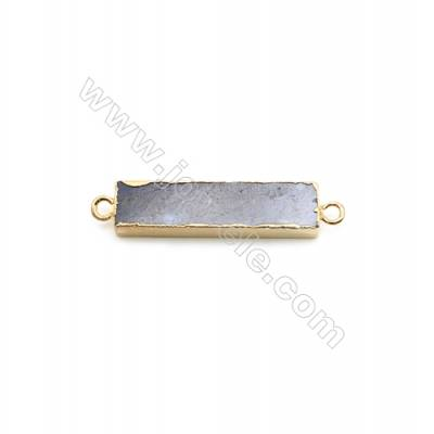 Natural Rectangle Labradorite Pendant Connector, Gold Plated Brass, Size 7x30mm, Hole 2mm, x 1piece