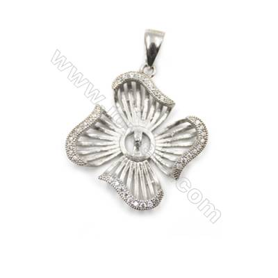 Micro pave zircon 925 sterling silver platinum plated pendant, 20x24mm, x 5 pcs, tray 6mm, needle 0.6mm