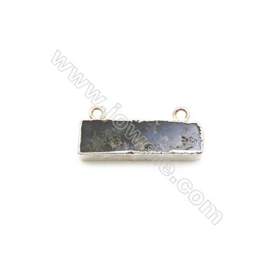 Natural Rectangle Labradorite Pendant Connector, Silver Plated Brass, Size 11x36mm, Hole 2mm, x 1piece