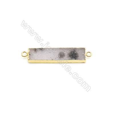 Connector, about 9x35mm, Hole 1.5mm, Druzy Agate (natural) and Gold-finished Brass, Sold individually.