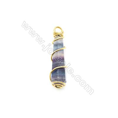 Natural Column Fluorite Pendant, Gold Plated Brass, Size 9x28mm, x 1piece