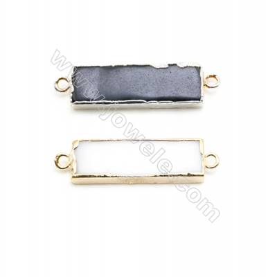 Natural Rectangle Agate Pendant Connector, Silver and Gold Plated Brass, Size 9x29mm, Hole 2mm, x 1piece