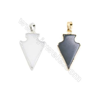 Natural Arrow Agate Pendant, Silver and Gold Plated Brass, Size 16x24mm, x 1piece