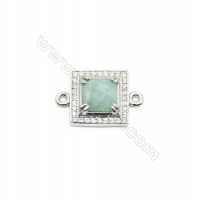 Natural Square Amazonite Pendant Connector, Cubic Zirconia, Silver Plated Brass, Size 13x13mm, Hole 1.5mm, x 1piece