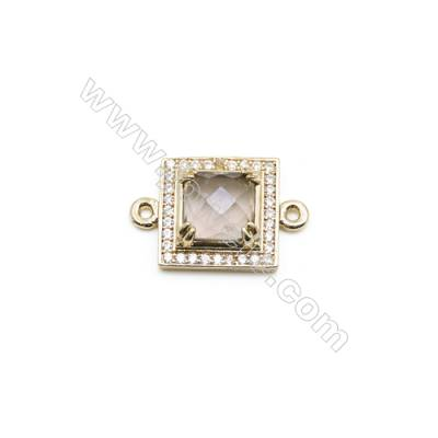 Natural Square Smoky Quartz Pendant Connector, Cubic Zirconia, Gold Plated Brass, Size 13x13mm, Hole 1.5mm, x 1piece