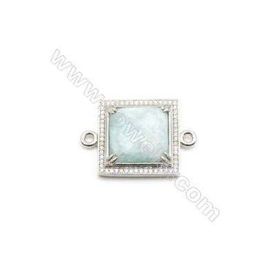 Natural Square Amazonite Pendant Connector, Cubic Zirconia, Silver Plated Brass, Size 24x24mm, Hole 2mm, x 1piece