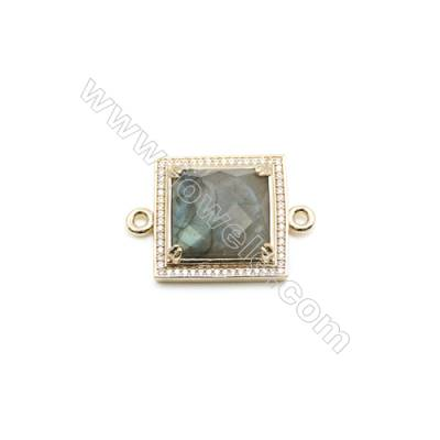 Natural Square Labradorite Pendant Connector, Cubic Zirconia, Gold Plated Brass, Size 24x24mm, Hole 2mm, x 1piece