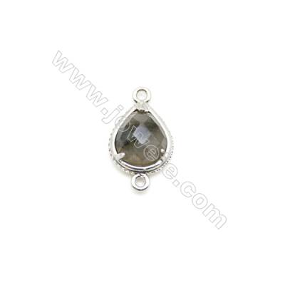 Natural Teardrop Labradorite Pendant Connector, Silver Plated Brass, Size 10x12mm, Hole 1.5mm, x 1piece