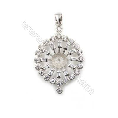 925 Sterling silver platinum plated inlaid zircon jewerly pendants, 23mm, x 5pcs, tray 7mm, needle 0.5mm