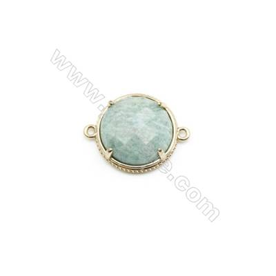 Natural Round Amazonite Pendant Connector, Gold Plated Brass, Diameter 23mm, Hole 1.5mm, x 1piece