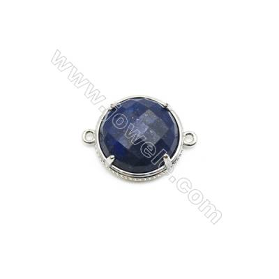 Natural Round Lapis Lazuli Pendant Connector, Silver Plated Brass, Diameter 23mm, Hole 1.5mm, x 1piece
